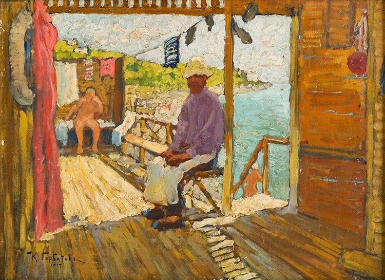 Kонстантин Иванович Горбатов [1876-1945) was a Russian post-impressionist painter. Gorbatov was born in the small Volga river town of Stavropol. After initially studying architecture at the St. Petersburg Academy of Fine Arts, he transferred to the painting department where he studied under Nikolai Dubovskoy and Aleksandr Kiselev, though he was most influenced by Ilya Repin and Arkhip Kuindzhi.