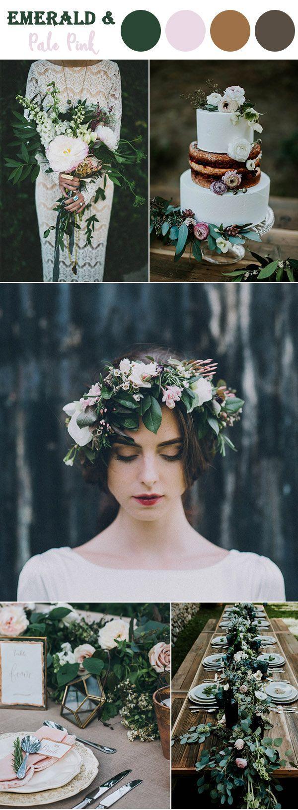 翠绿色和淡粉色林地秋季婚礼颜色