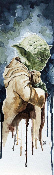 Yoda Water Color Painting by David Kraig