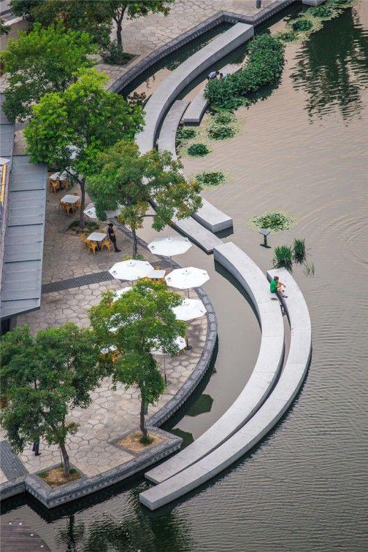 位于中国苏州的博涛景观城镇河位于城市核心商业步行街的南部,从古都港开始......