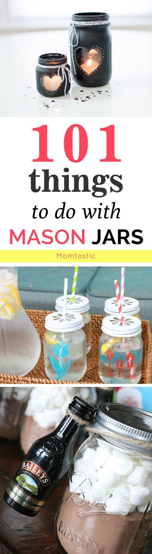 如果你没有任何梅森罐子,那就去买一些,是吗?这里有101个关于梅森罐子的事情 - 从梅森罐子工艺品到DIYs到现在销售并稍后再试。