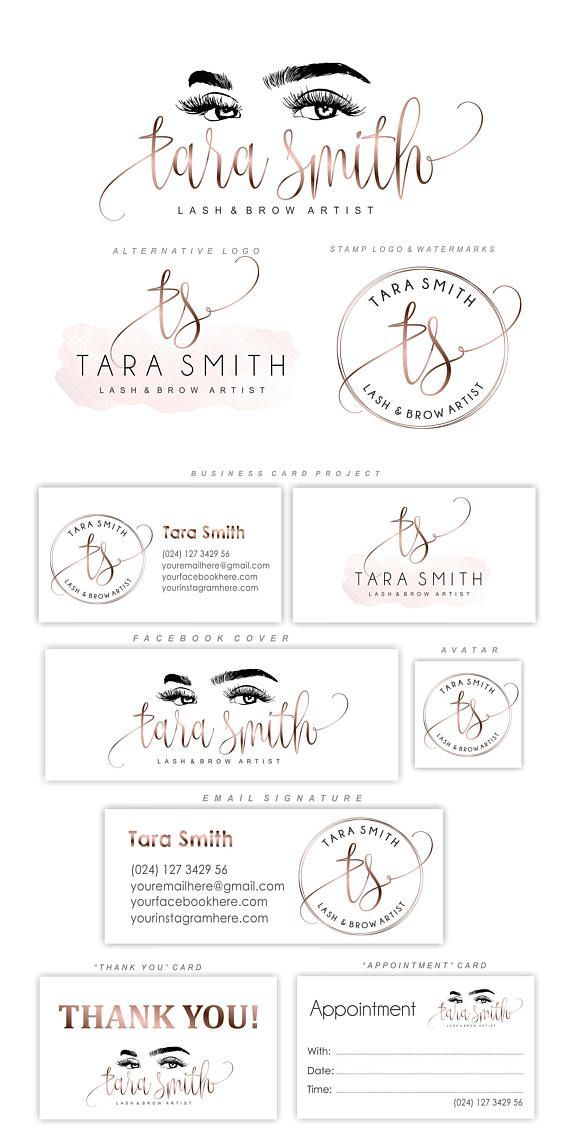 Lash logo design Eyelash branding kit Lash extensions logo