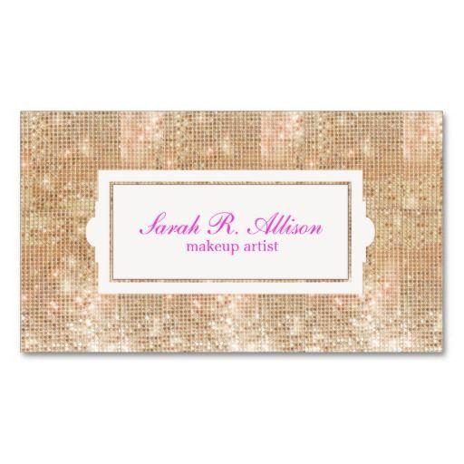 Gold Sequins Makeup Artist Pink Text Business Card