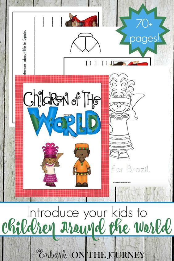 这本免费的75页儿童环绕世界可打印包装将您的孩子介绍给其他文化。