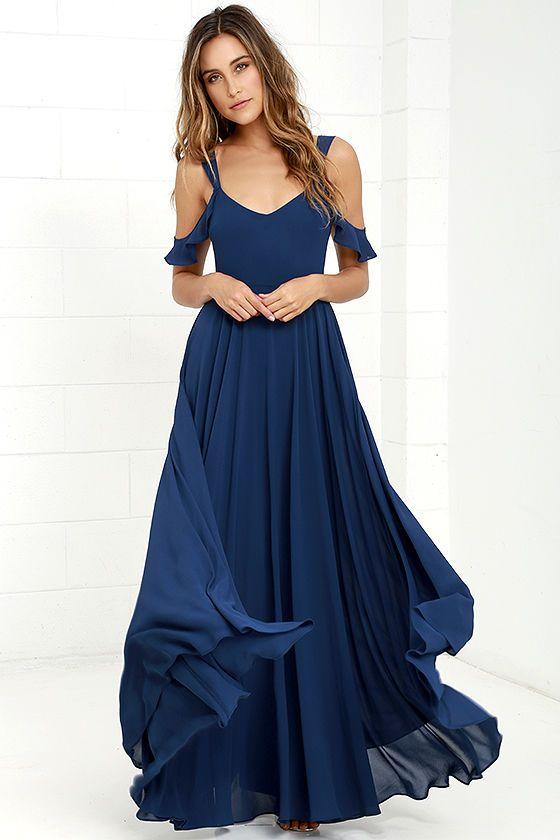 Romantic Fantasy Navy Blue Maxi Dress