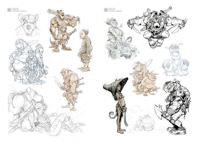 Oscar Martin's sketchbook page.