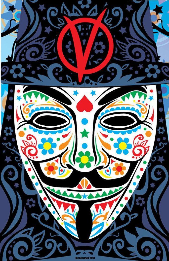 V for Vendetta sugar skull - CuddleswithCats.deviantart.com