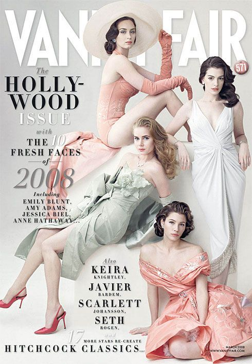 Emily Blunt (The Devil Wears Prada); Amy Adams (Enchanted); Jessica Biel (I Now Pronounce You Chuck & Larry); Anne Hathaway (The Devil Wears Prada). Clothing from Dior by John Galliano was designed exclusively for the shoot.