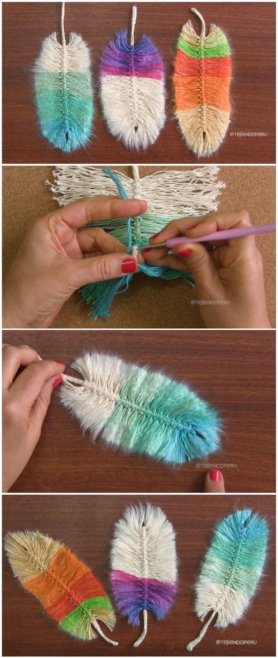 钩针编织美丽的羽毛模式想法