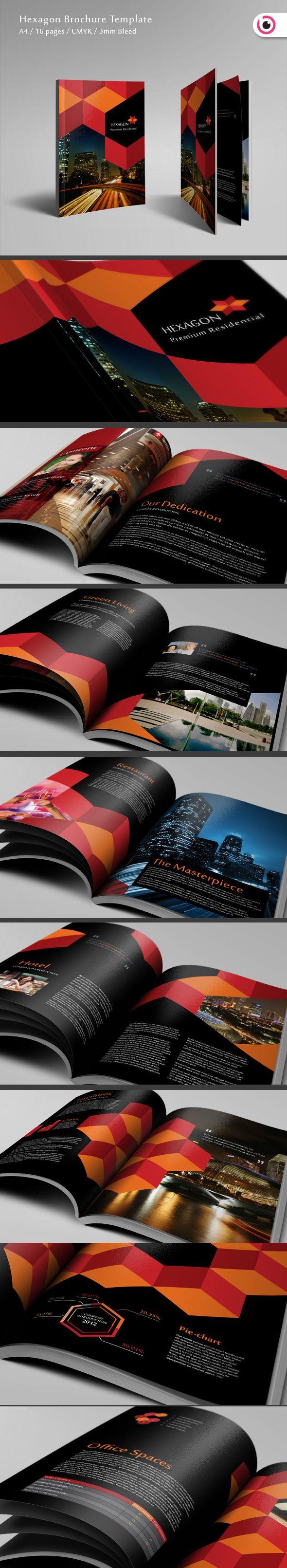 Hexagon Brochure Template by Tony Huynh, via Behance