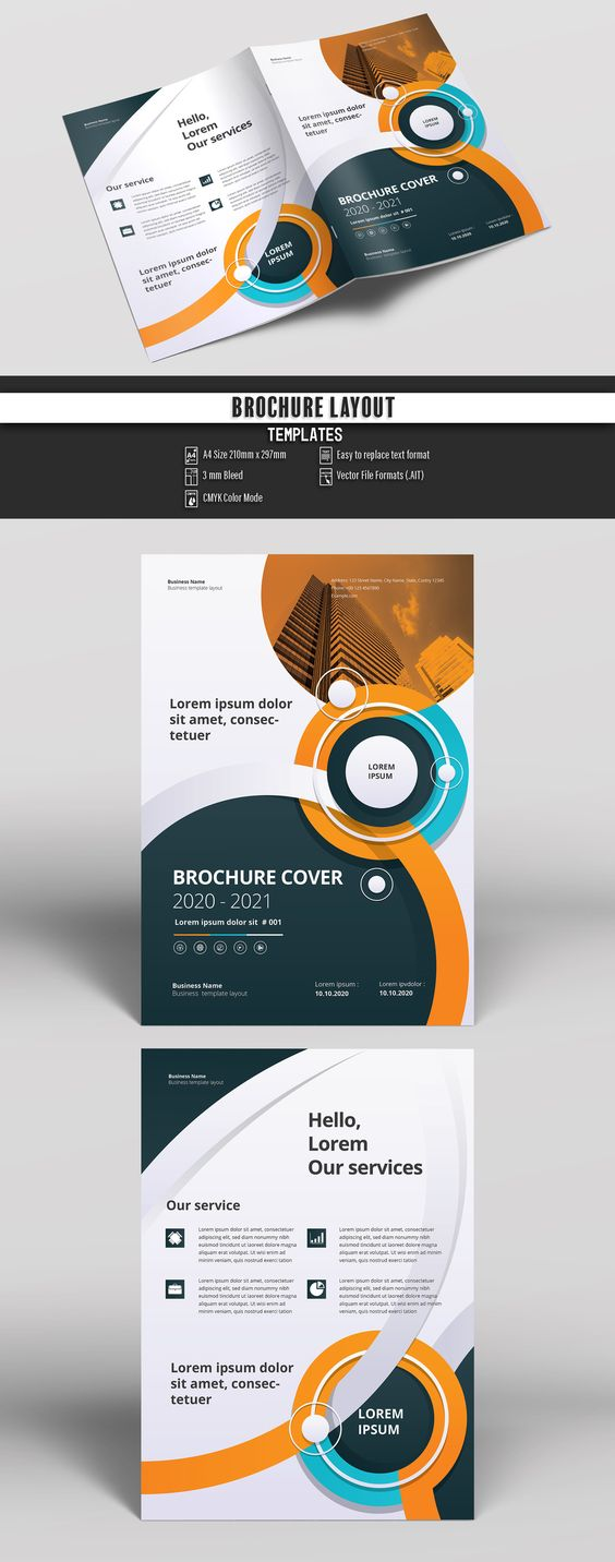 Brochure Layout with Teal, Orange and Blue Accents. Buy this stock template and explore similar templates at Adobe Stock | Adobe Stock #Brochure #Business #Proposal #Booklet #Flyer #Template #Design #Layout #Cover #Book #Booklet #A4 #Annual #Report| Brochure template | Brochure design template | Flyers | Template | Brochures | Flyer Background | Background design | Business Proposal | Proposal Design | Booklet | Professional | Professional - Proposal - Brochure - Template