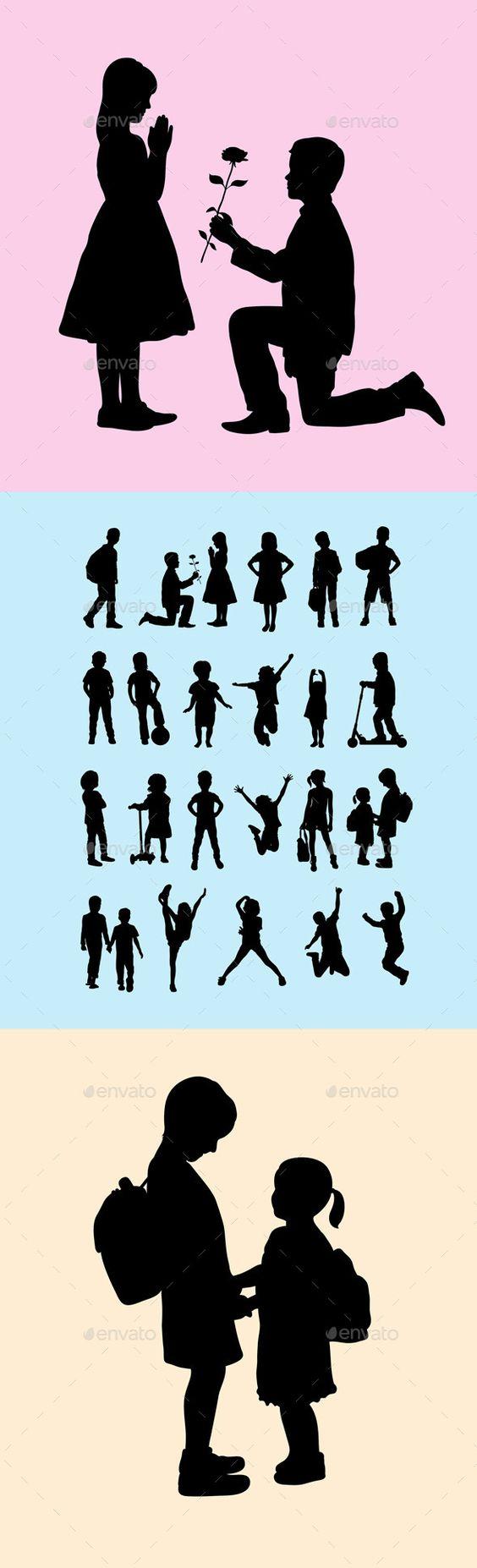 儿童剪影,艺术矢量设计。 Ai CS,JPEG和EPS。