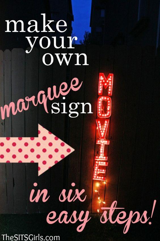 准备学习如何制作自己的DIY Marquee Sign?这是一个简单的方式来活跃任何后院电影之夜或家庭聚会!