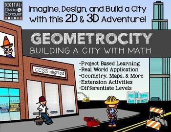 基于项目的学习:几何学!建立一个由几何学构成的城市。想象一下,设计并建造一个拥有2D和3D冒险的城市! - 基于项目的学习 - 实际应用 - 几何,地图和更多 - 扩展活动 - 差别级别