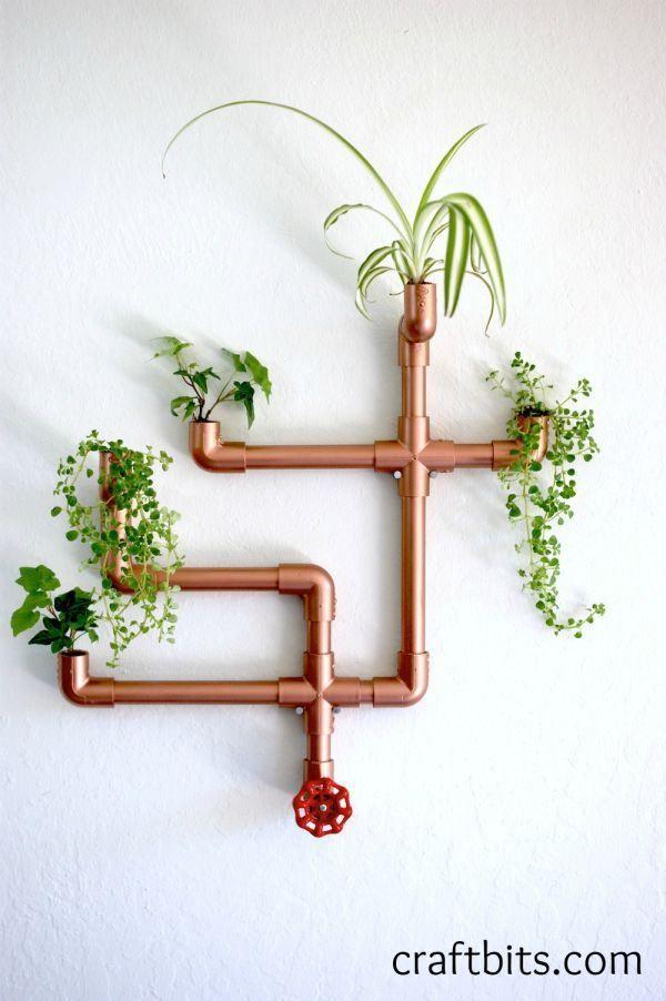 DIY铜PVC墙花盆