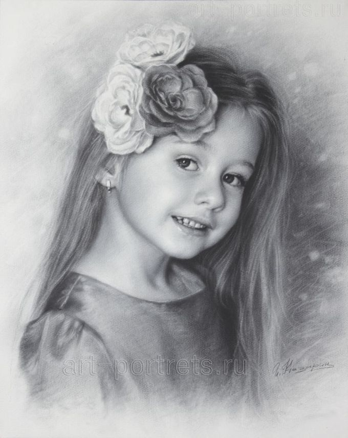 Black and white portrait of a little girl Anastasia with flowers by Dry Brush