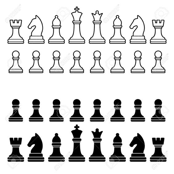 Chess Pieces Silhouette - Black And White Set Illustration Royalty ...