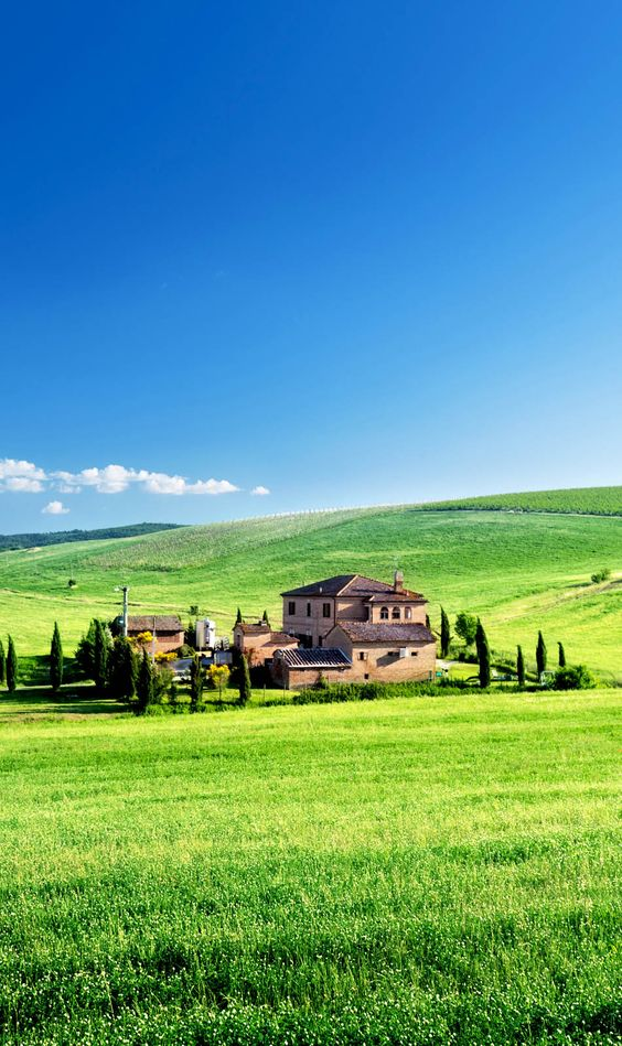 45.托斯卡纳风景与典型的农舍,意大利