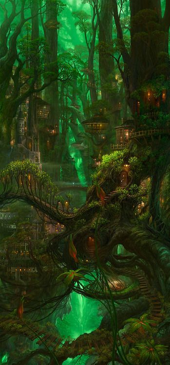 This is Ellsmera the elf city. The housed are made out of trees and nature is breathtaking.