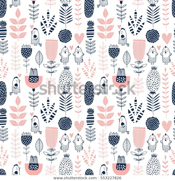Seamless vector romantic floral pattern