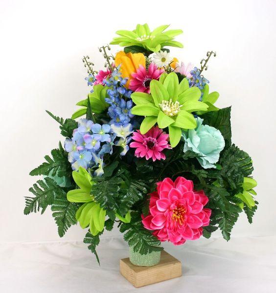 父亲节公墓花瓶插花配有美丽的春天的花朵#Crazyboutdeco