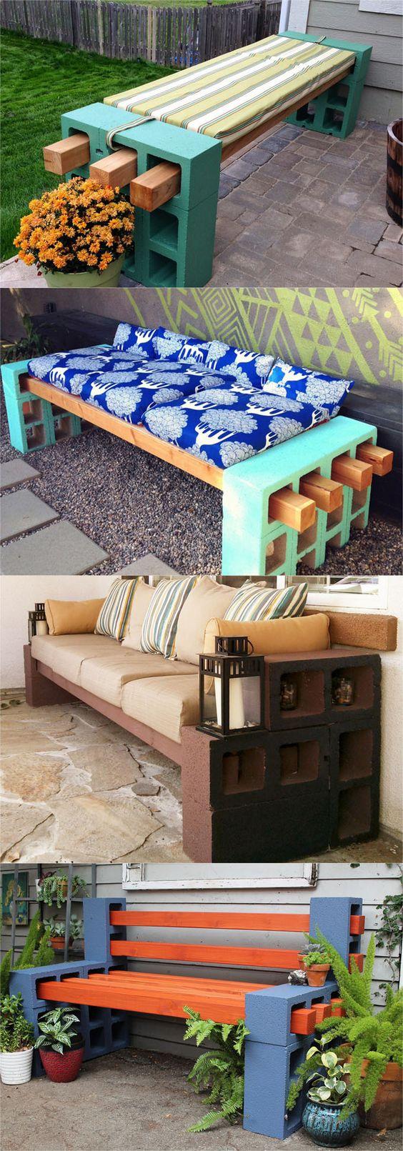 每个房间21个漂亮的DIY长凳。关于如何轻松地用木头,混凝土块,甚至是旧床头板和梳妆台制作长凳的教程。
