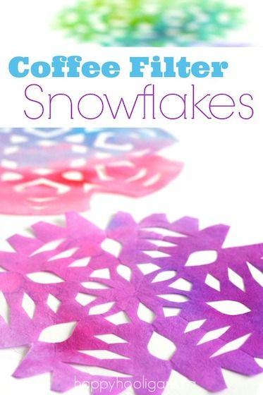 用一些彩色咖啡过滤雪花照亮一个沉闷的冬日。这个过程非常有趣和轻松。所有年龄段的孩子都希望了解这些。
