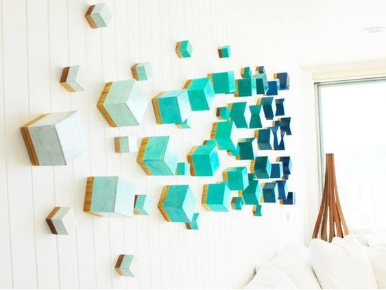 3D Art | Cubes Wall Sculpture | Installation Art | Wood Wall Art | 3D Wall Art | Custom Art | Wood Art | Cubes | Rosemary Pierce Modern Art