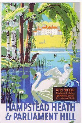复古电车旅行海报 - 汉普斯特德希思和国会山 - 伦敦 -  1933年。