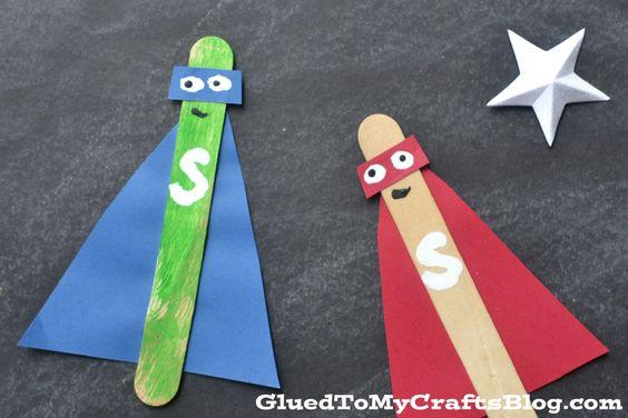 冰棒棍超级英雄 - 孩子工艺