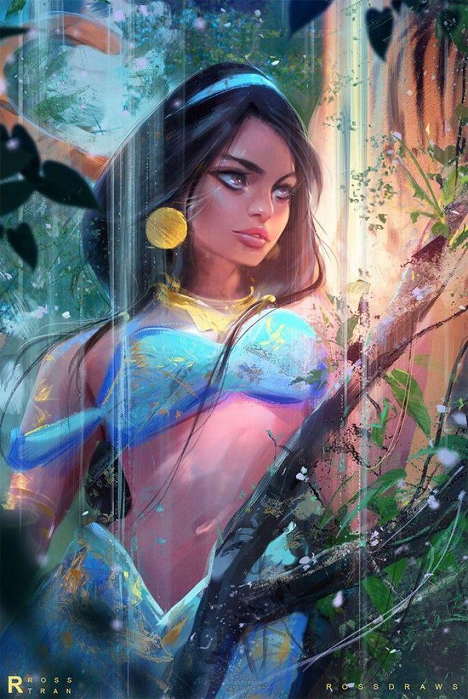 Hello les amis! L'artiste youtubeur américain Rossdraws a sorti pour sa première vidéo de l'année un dessin de Jasmine de Aladdin. Elle est superbe ! Regardez comment il l'a réalisé la belle princesse en infographie sur la tablette graphique Wacom et le logiciel Photoshop. Les effets de lumière sont waouhh.
