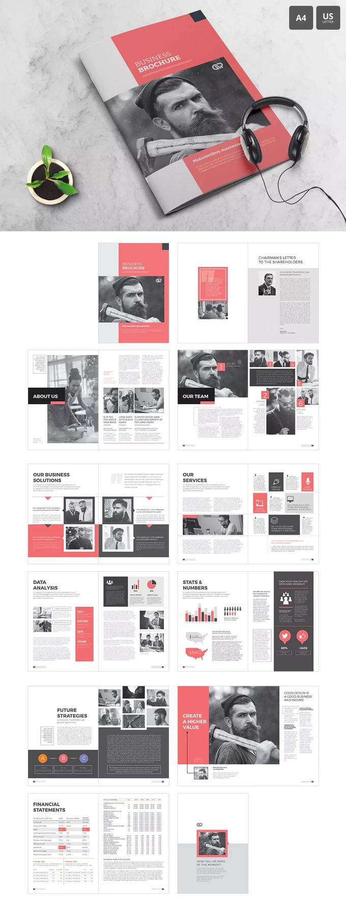 The Corporate Brochure Template InDesign INDD - A4