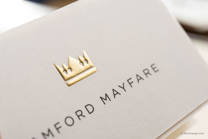 Modern minimalist cream business card template with gold foil and emboss - Bamford Mayfare | RockDesign Luxury Business Card Printing