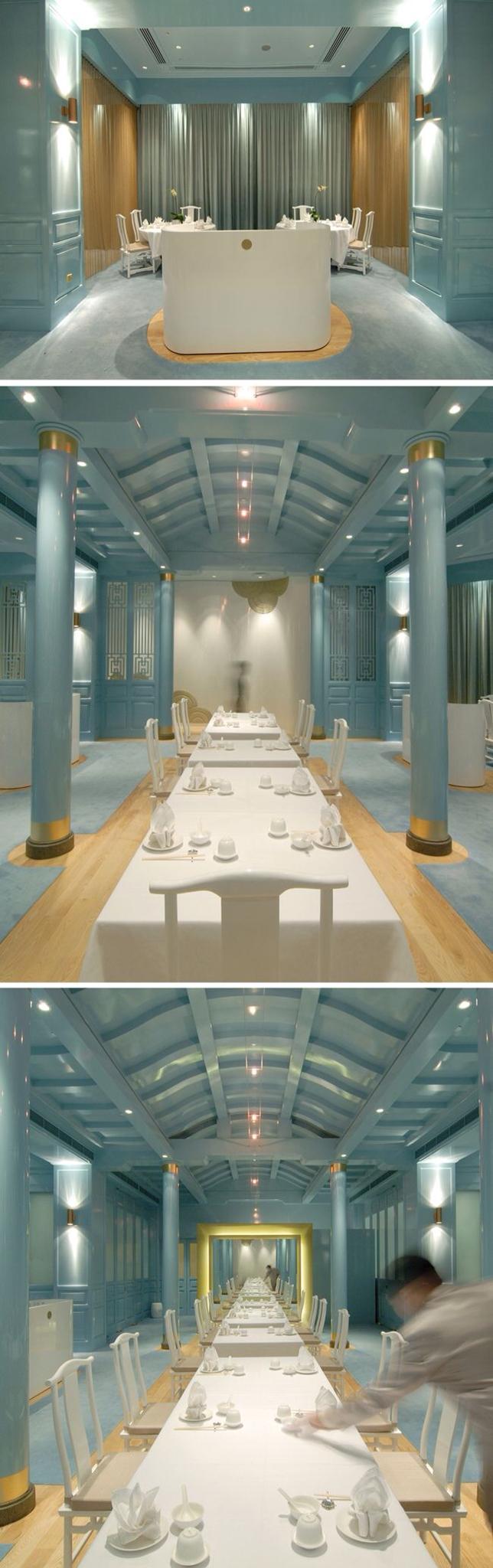 中国皇家餐厅|新加坡莱佛士酒店|新加坡酒店|新加坡餐厅|蓝色室内设计|亚洲室内设计|蓝色餐厅|拉长墙|蓝色披肩
