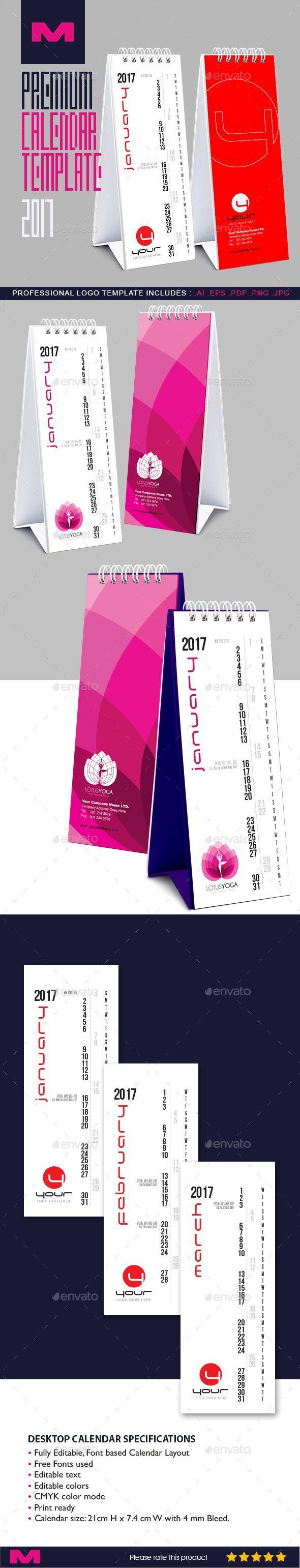 Premium Desktop Calendar Template 2017 - Stationery Print