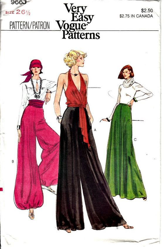 1970s Retro Palazzo Pants Pattern - Vogue 9663 - Palazzo, Harem Pants and Maxi Skirt- UNCUT MINT - American Hustle Style