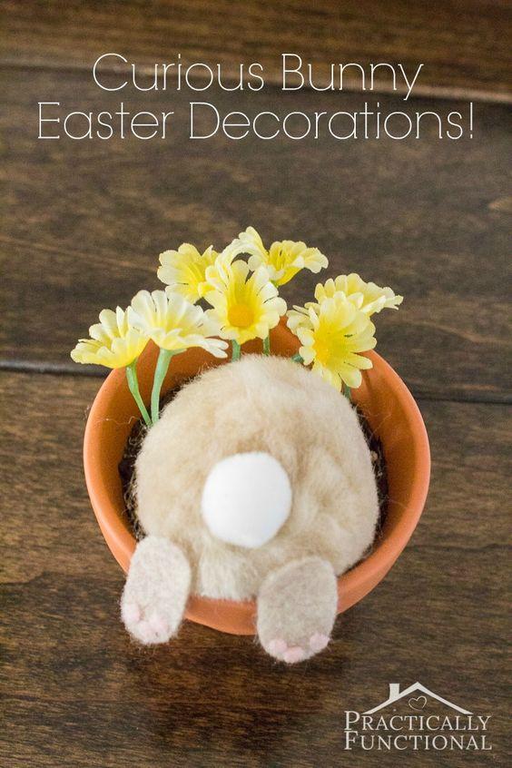 把一些棉球和毛毡变成一个好奇的兔子花盆;完美的复活节装饰品或桌位卡!