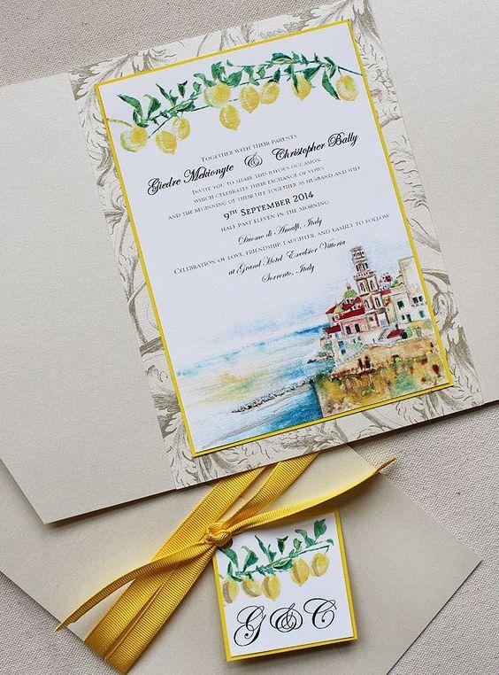 象牙,黄色和蓝色水彩意大利风景婚礼请柬,手绘婚礼文具