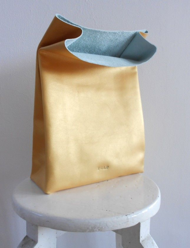 Golden leather paper bag—loving this glam take on the lunch bag.