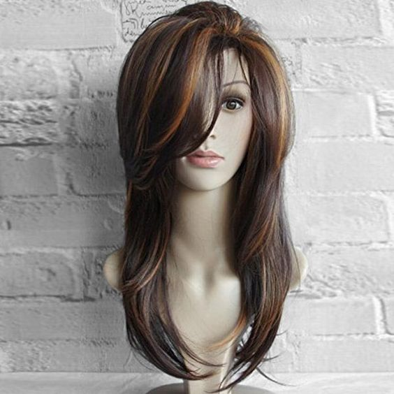 Long Oblique Bang Layered Natural Straight Colormix Synthetic Wig