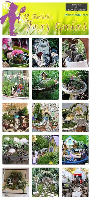TONS的DIY仙女花园创意包括许多独特且易于制作的微型仙女花园配饰。