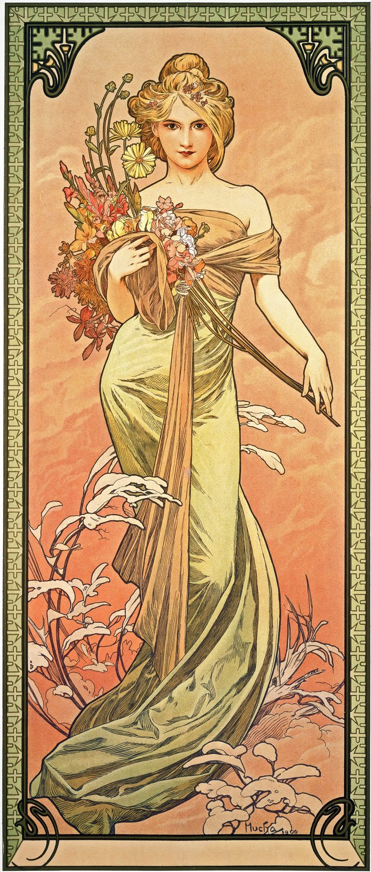 I have this lovely, slightly modified, tattooed on my leg. Loooooove her!!  Art Nouveau ~ Le Printemps ~ by Mucha ~1905