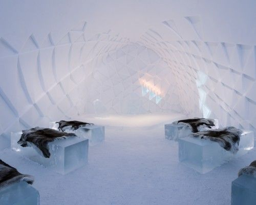 Sweden's ICE HOTEL's unique lodgings, from the 40 rooms, to the bar, and even the church, are built out of 45,000 tons of snow and ice, and carved to perfection. After the wedding in the chapel, guests can hit the ICEBAR for the reception. Everything in the ABOSLUT bar is made of ice, from the chairs to the glasses. The IceHotel is located in Jukkasjärvi, 200 km north of the Arctic Circle, and all the hotel's ice comes from the nearby Torne River.