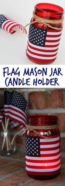 享受这个简单的国旗梅森罐烛台为所有爱国假期增添光彩 - 添加鲜花并用作爱国花瓶。只需要几分钟就可以完成!