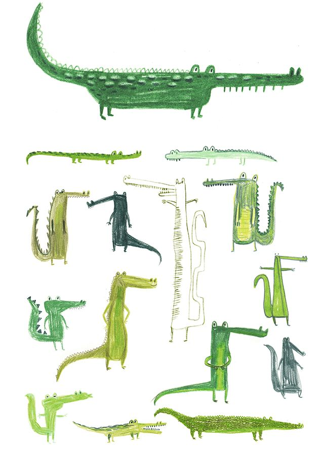 Crocodiles by Erica Salcedo. There's just something inherently amusing about a cartoony crocodile -- a Peter Pan side effect, perhaps?