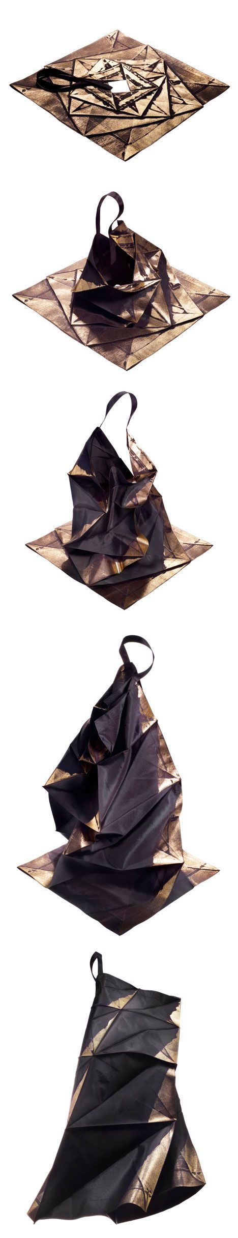 Japanese fashion designer Issey Miyake has designed a range of clothing that expand from two-dimensional geometric shapes into structured shirts, skirts, pants and dresses.