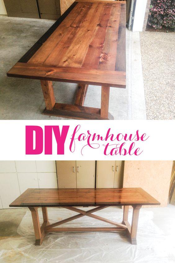 用这些可怕的计划制作你自己的diy农家餐桌。我爸爸在不到一周的时间里制作了这张桌子,而且非常漂亮!
