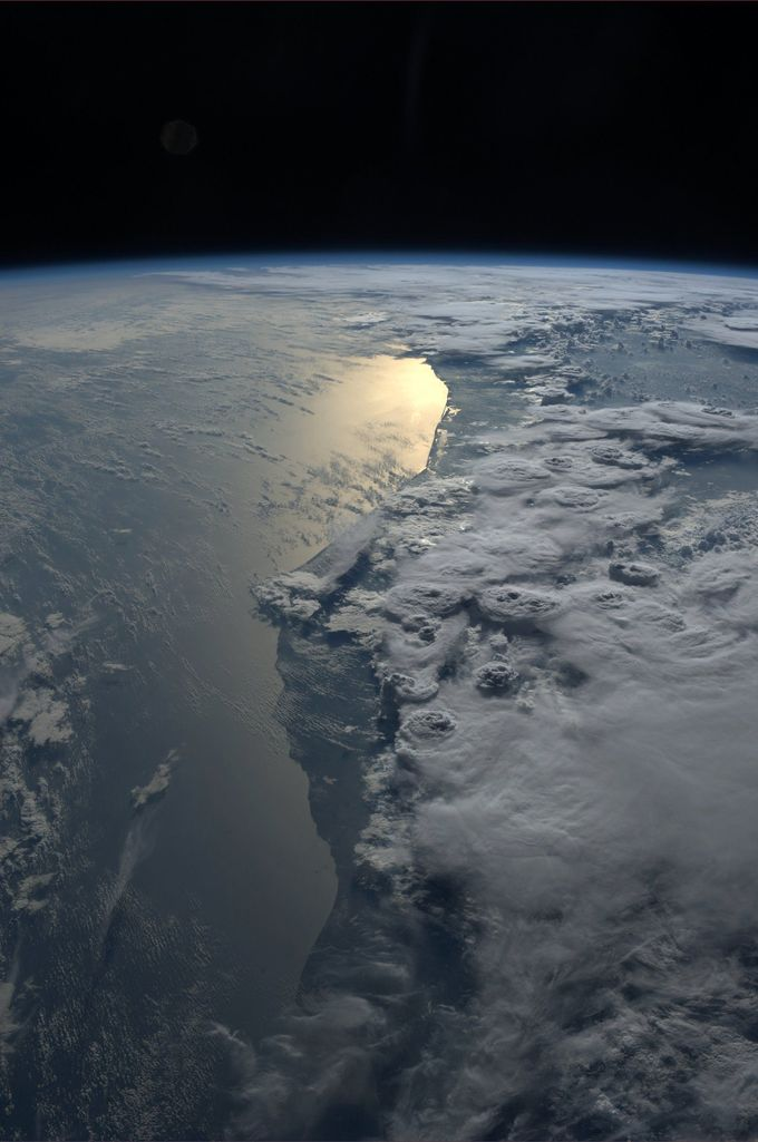 Beautiful storms over Ghana.  Taken October 8, 2013.  KN from space.