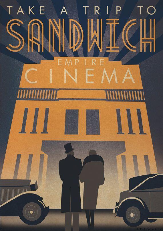 Original Design Art Deco Bauhaus A3 Poster Print Vintage Sandwich Cinema 1930's Car Architecture 1940's Vogue