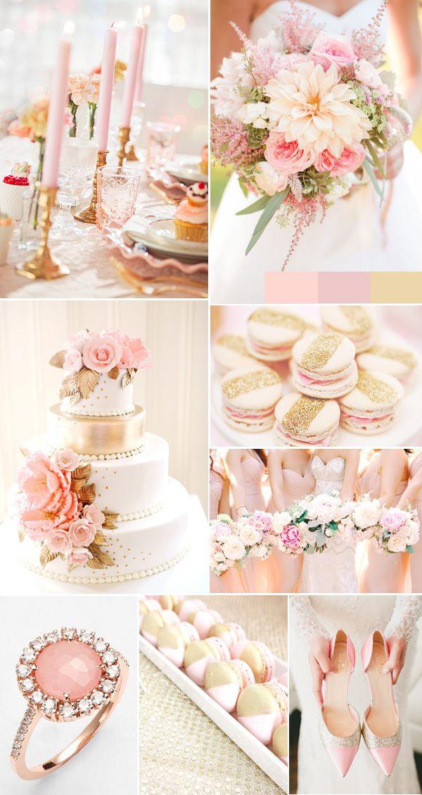 浪漫玫瑰粉红色和金色亮片婚礼的想法